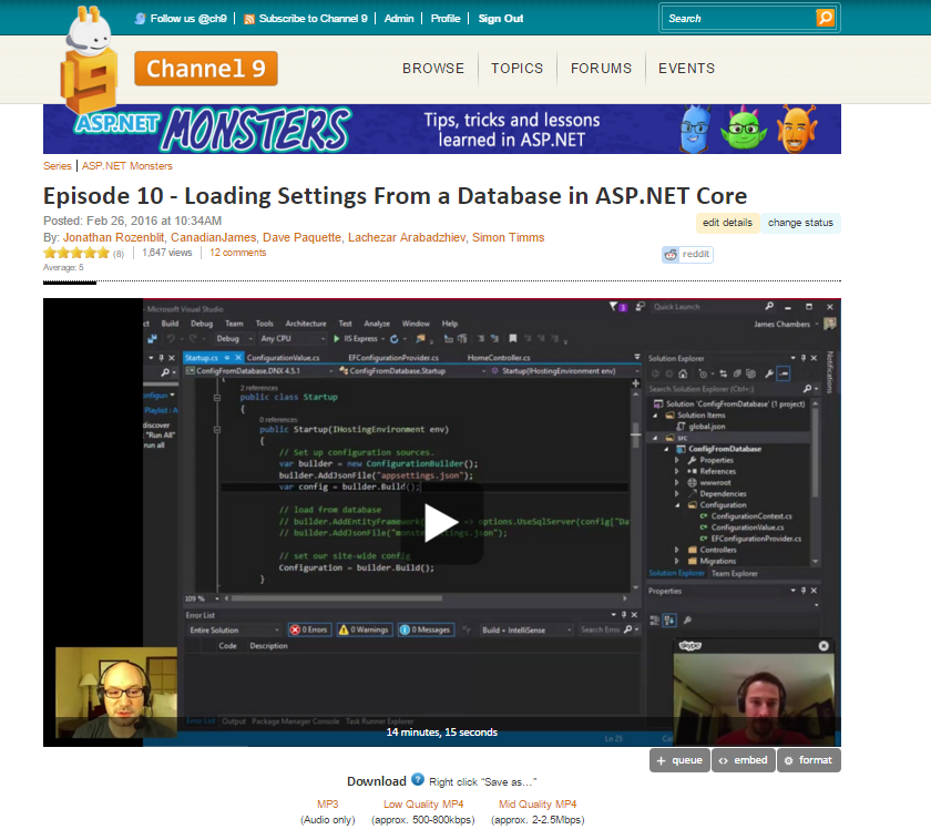 The ASP.NET Monsters on Channel 9